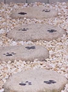 猫の足跡をあしらった飛び石